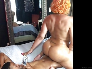 Bombastic shemale with thick curves rides dick until she cums